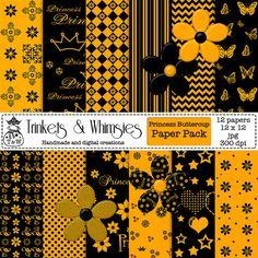 Princess Buttercup Digital Scrapbook Papers by TrinketsAndWhimsies