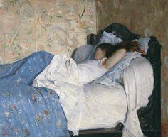 In Bed, Sleeping girl, by Federico Zandomeneghi, 1878, oil on canvas.