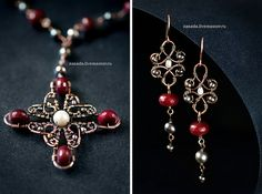 """""""The Tudors"""" Copper earrings and necklace with agate and pearls by vzasade, via Flickr"""