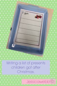 Writing a list of presents after Christmas. Present Lists, Continuous Provision, Writing Challenge, After Christmas, Eyfs, Mark Making, Asd, School Ideas, Classroom Ideas