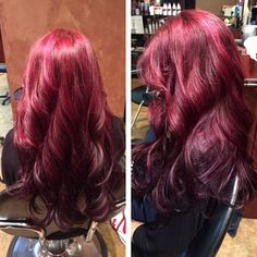 red to purple ombre with beautiful big curls!!