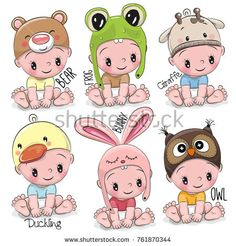 Buy Set of Cartoon Babies by on GraphicRiver. Set of Cute Cartoon Babies in hats of different animals