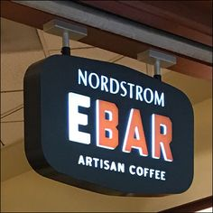 Nordstrom Ebar Mall-Concourse Entry Branding – Fixtures Close Up Retail Fixtures, Close Up, Signage, Mall, Nordstrom, Branding, Coffee, Store, Kaffee