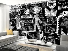 Graffiti - Black and White wall mural living room preview