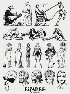 Illustrations by John Willie for Bizarre Magazine c. 1950's