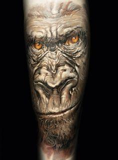Realistic gorilla tattoo by Dmitriy Samohin