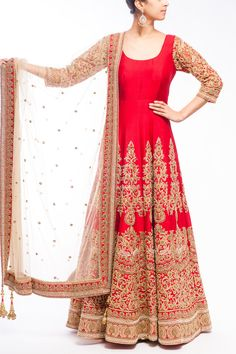 Buy elegant bridal anarkali suit, designed beautifully with Zardozi embroidery work, neat and clean golden thread enhance the beauty of this deep red floor length anarkali suit.