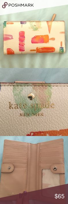 Kate Spade wallet Super cute wallet by Kate Spade. It is a cream color with popsicles. I used it for the summer seasons. Only flaw is a dot of ink, you can see it in the third photo. Hardly noticeable,  but I still wanted to be honest about it. kate spade Bags Wallets