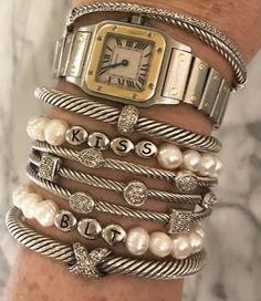 ac098bf16 David yurman · Diamonds and pearls in a row. I love my new custom pearl  bracelets from Sugar