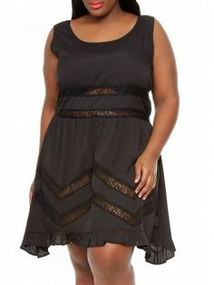 Black Against All Odds Dress $45  Sleeveless, scoop neck dress has sheer lace inserts at the waist and A-line skirt. Skirt is finished with a ruffled hem.   #alight #plussize #plussizefashion #plussizeclothing #spring #trend #trendy #cute #dress #black #plussizedress