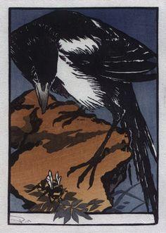 "David Bull's 'Hanga Treasure Chest' Series: Print #14: ""Magpie and Bee"" Jules Chadel."
