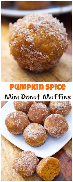 Easy Pumpkin Spice Mini Donut Muffins! Baked in a mini-muffin tin, these couldn't be easier or more delicious!