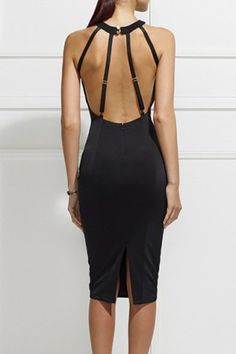 Sexy Round Neck Sleeveless Solid Color Open Back Bodycon Women's Dress