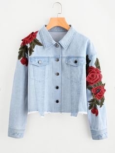 Stagioni Fashion for Women, Denim Jackets for Women. Item: Rose Patch Raw Hem Denim Jacket for Women Girls Fashion Clothes, Teen Fashion Outfits, Denim Fashion, Girl Outfits, Clothes For Women, Denim Jacket Patches, Cropped Denim Jacket, Cute Casual Outfits, Stylish Outfits