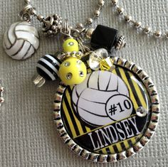 Personalized Necklace Custom Sports Jewelry Volleyball by buttonit Volleyball Jewelry, Volleyball Mom, Soccer Banquet, Basketball Backboard, Team Mom, Sports Gifts, Party Ideas, Gift Ideas, Sport Quotes