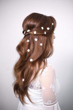 Pretty Half up half down hairstyle   fabmood.com #weddinghair #upstyle #halfuphalfdown #bridalhair #weddinghairstyle #halfdown #hairideas