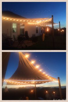 DIY sun sail & string lights patio project!!! Love!! :)