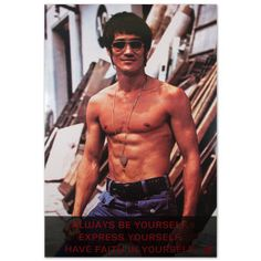 """The Bruce Lee Sunglasses w/ Quote Poster - EXCLUSIVE Featuring an image of Bruce Lee looking casually cool, this poster includes the quote: """"Always be yourself."""