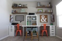 HOME OFFICE idea- Open Shelving- IKEA desk- Natural Wood @OOHLAHLAHDESIGNS.COM