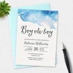A cute baby shower invitation illustrated with watercolour splashes, and an elegant handwritten script font.  This is a HIGH RESOLUTION Digital