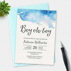 Boy Baby shower invitation Boy oh Boy watercolor by MiniMoiPrints