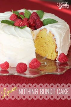 Our Version of Nothing Bundt Cakes' Lemon Cake is a dense and moist cake with a thick cream cheese frosting. It is every bit as good as the original!
