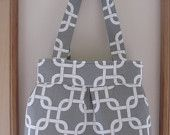 Canvas, Handbag, Purse, Ipad, Netbook, Tote, Shoulder bag ,Pleated bag, Made in USA Geometric in Gray and white - pinned by pin4etsy.com