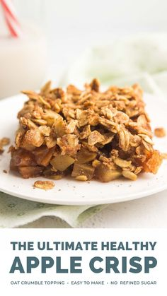 This is the BEST EVER apple crisp recipe!! It's super easy to make. Sweet juicy apples are layered with an oat crumble topping and baked until perfectly soft & tender. This apple crumble does NOT taste healthy at all — you'll never use another recipe again! Healthy apple crisp recipe with oats crumble. Healthy apple crumble clean eating low calorie. Apple crisp recipe with oats easy. Low sugar apple crisp. Apple crisp no sugar gluten free. #healthyrecipe #glutenfree #easyrecipes #cleaneating