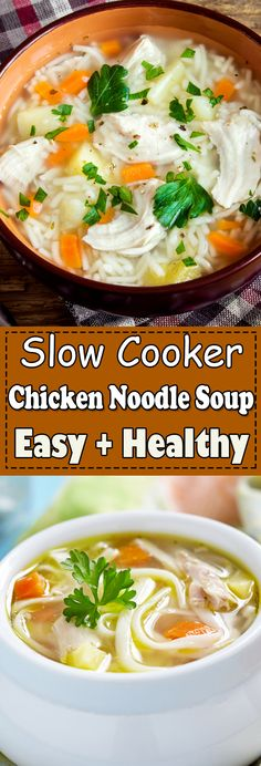 This chicken noodle soup recipe is easy comfort food with all delicious flavors. The slow cooker chicken noodle soup is perfect for a quick lunch or dinner. #chickennoodlesoup #crockpotchickennoodlesoup #easychickennoodlesoup #healthychickennoodlesoup Chicken Main Course Recipes, Chicken Lunch Recipes, Chicken Appetizers, Healthy Chicken Dinner, Chicken Breast Recipes Healthy, Easy Thanksgiving Recipes, Christmas Recipes, Yummy Recipes, Crockpot Recipes