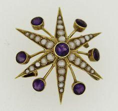 Victorian Amethyst & Pearl Star Brooch