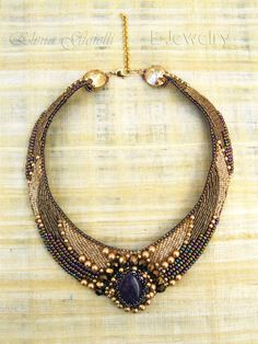 Bead embroidered statement bib necklace choker with Swarovski elements, stone amethyst central piece in beige - AMETHIS. €250.00, via Etsy.