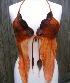 Russet  Nuno Felted Faerie Top - fairy costume - nuno felt top - pixie top