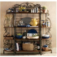 Baker's Rack Collection - French Country - Love this! Bakers Rack Decorating, Tuscan Decorating, French Country Decorating, Decorating Kitchen, Metal Patio Furniture, Iron Furniture, Bakers Rack Kitchen, Etagere Design, French Country Bedrooms