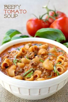 This Beefy Tomato Soup is loaded with beef and pasta - made with an easy shortcut!