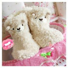 $12.26 Winter Essential Lovely Cartoon Lamb Patterns Warmly and Comfortable High-Top Slippers For Women