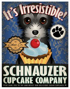 Schnauzer Cupcake Company Original Art Print by DogsIncorporated, $29.00