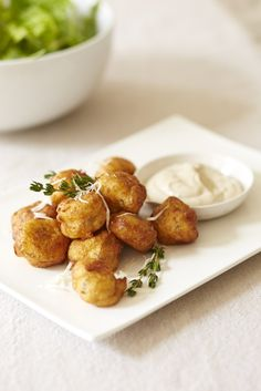 Thyme Parmesan Zeppole with Anchovy Aioli