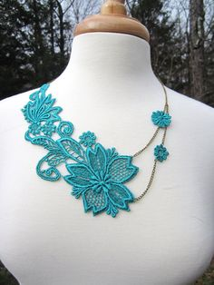 Teal Lace Necklace  Venice Lace  Maid of Honor by EclectionsGifts, $34.00  - necklace inspiration