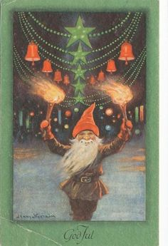 Vintage Christmas Gnome Card by Jenny Nystrom ~ Orange Accents