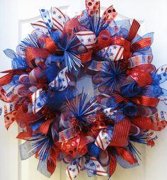 Patriotic Wreath, 4th of July Wreath, Patriotic Decor, red white blue wreath, Americana Wreath, Memorial Day Wreath, Deco Mesh wreath
