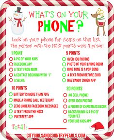 What's On Your Phone Christmas Party Game Printable – About Holiday Parties Christmas Party Games For Groups, Party Games Group, Office Party Games, Xmas Games, Holiday Games, Birthday Party Games, Staff Christmas Party Ideas, Christmas Office Games, Pj Party