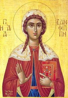 Saint Polyxene, the sister of Saint Xanthippe century Spain; Saint Polyxene was baptized by Holy Apostle Andrew). The two sisters preached the Gospel throughout the land for 40 years, converting pagans. Saint Xanthippe mainly preached in Toledo. Byzantine Art, Byzantine Icons, Religious Icons, Religious Art, Day Of Pentecost, Roman Church, Religion Catolica, Orthodox Christianity, 1st Century