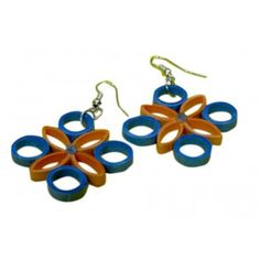 Blue and Orange coloured flower hangings - Light weight paper Jewellery