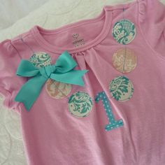 Birthday - Pink and Teal Vintage Party Shirt Baby Girl 1st Birthday, First Birthday Parties, Birthday Shirts, It's Your Birthday, First Birthdays, Birthday Ideas, Kid Parties, Happy Birthday, Mint Party
