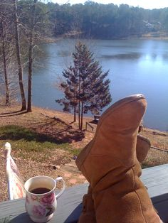 coffee in the morning...overlooking water...lake, ocean, or river