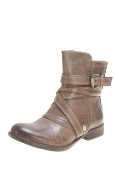"Bailey Short Boot by Miz Mooz $160 - $40 @HauteLook. - Almond toe - Side zip closure - Wrapped buckle strap detail - Stacked heel - 7"" shaft height - 10"" opening circumference - 1"" heel  - Leather upper, rubber sole"