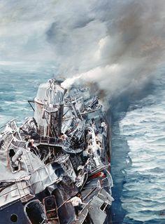 "88-66-K: Kamikaze attacks on USS Hazelwood (DD 531), shown battered but still afloat, April 29, 1945. Artwork by John Hamilton from his publication, ""War at Sea,"" pg. 256. Courtesy of the U.S. Navy Art Gallery."