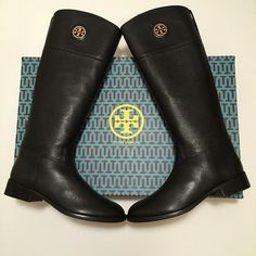 "NEW Tory Burch Junction Riding Boots! NEW Tory Burch Junction Riding Boots! Comes in original box with TB shoe dust bag. Size: 10.5. Details: A polished logo medallion brings signature sophistication to the timeless profile of an equestrian-inspired pebbled-leather boot. 1 1/4"" heel 16 3/4"" boot shaft; 15"" calf circumference. Side zip closure. Leather upper/leather and textile lining/leather and rubber sole. By Tory Burch; imported. Tory Burch Shoes Heeled Boots"