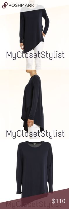 "Donna Karan NWT $185 Asymmetrical Tunic Top!p XS/S DONNA KARAN 100% Authentic. NWT! Msrp $185. Gorgeous Tunic with wonderful Asymmetric shape is flattering and easy to wear. Similar design as Helmut Lang. The fabric is nice and slinky to drape. High Quality. Look like you took time to look ""put together"" just by throwing this on over your fav pants! Size xp/p which is DKNY's xs. Generous as usual. u 18""-21"", length varies 26""-31"". Will fit xs & small. Slinky midnight fabric stretches easily…"