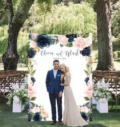 Big, bold and beautiful, our boho backdrop with blush and navy flowers set the scene for photography. Display your custom banner at the engagement party, rehearsal dinner, ceremony, reception, bridal shower or any other wedding event. Aso it can be customized for any other event!  Order includes
